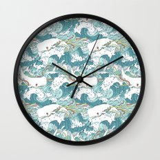 Whales and waves pattern Wall Clock
