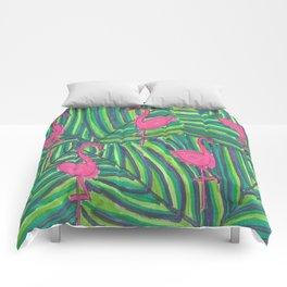 Flamingo Palm Leaves Comforters