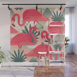 Retro Flamingo Patter Wall Mural