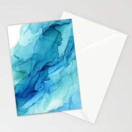 Emerald Sea Waves - Abstract Ombre Flowing Ink Stationery Cards