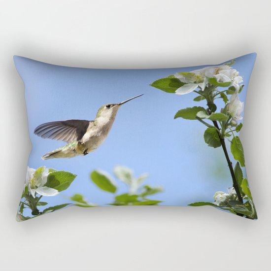 Spring Hummingbird Rectangular Pillow