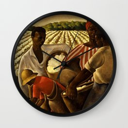 African American Masterpiece 'Employment of Negroes in Agriculture' by Earle Wilton Richardson Wall Clock