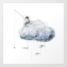 Fishing on a cloud Art Print
