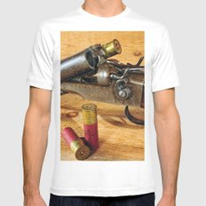 Double Barrel  Mens Fitted Tee White MEDIUM