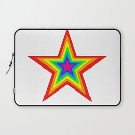 Bright Hypnotic Rainbow Pride Star Laptop Sleeve