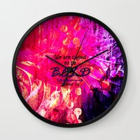 scripture Wall Clocks featuring CALLED TO BE BOLD Floral Abstract Christian Typography Scripture Jesus God Hot Pink Purple Fuchsia by The Faithful Canvas