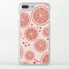 Living coral fresh orange juice pattern, from the Orange Blossom Pattern Collection Clear iPhone Case
