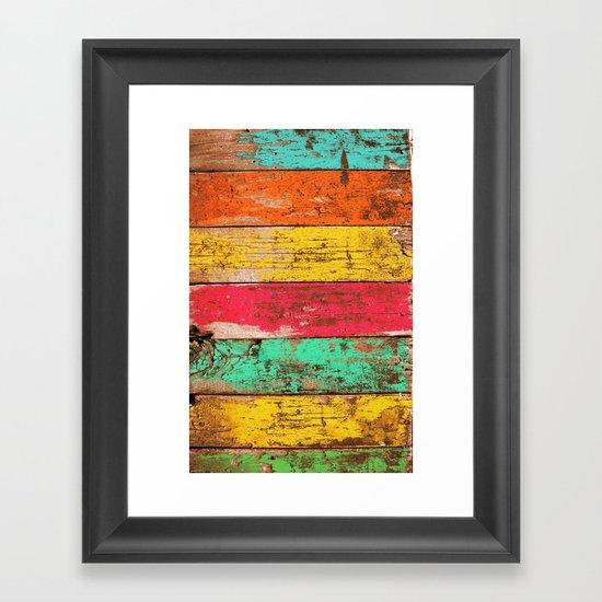 Vintage Colored Wood 3 Framed Art Print