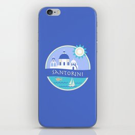 Santorini Greece Badge iPhone Skin