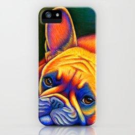 Colorful French Bulldog Rainbow Dog Pet Portrait iPhone Case