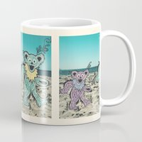 grateful dead Mugs featuring Grateful Dead Beach Cruise by Charlotte hills