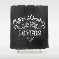 coffee Shower Curtains featuring COFFEE by Monika Strigel