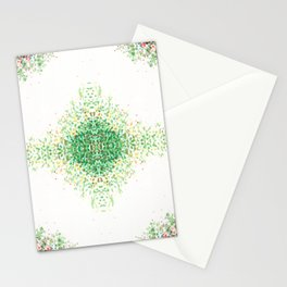 Floral Light Green Mosaic Pattern Stationery Cards