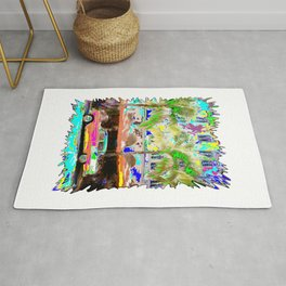 colorful beach car Rug