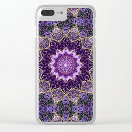 Amethyst and Gold Kaleidoscope  Mandala Clear iPhone Case