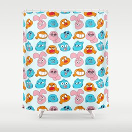 Gumball Faces Pattern Shower Curtain