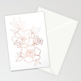 Peony Blossoms Vertical - Rose Gold Stationery Cards