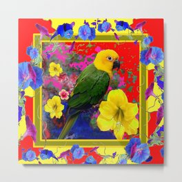 COLORFUL RED GREEN PARROT  YELLOW FLORAL ART Metal Print