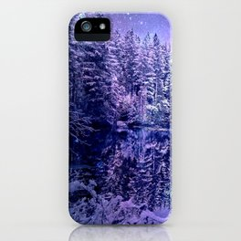 Lavender Winter Wonderland : A Cold Winter's Night iPhone Case