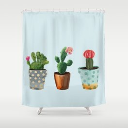 Three Cacti With Flowers On Light Blue Background Shower Curtain