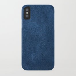 Blue leather texture iPhone Case