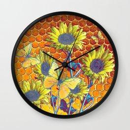 GREY-YELLOW BUTTERFLIES & SUNFLOWERS ARTISTIC HONEYCOMB DRAWING Wall Clock