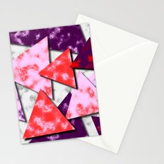 Triangles Layered Pattern in Red Purple and Pink Stationery Cards