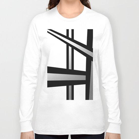 Bold Metallic Beams - Minimalistic, abstract black and white artwork Long Sleeve T-shirt