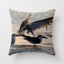 Watercolor Bird, Black Skimmer 13, Gulf Island Beach, Florida, Twilight's First Glisten Throw Pillow