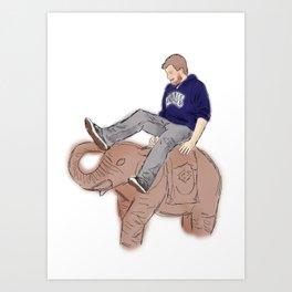 Christian rides an Elephant Art Print