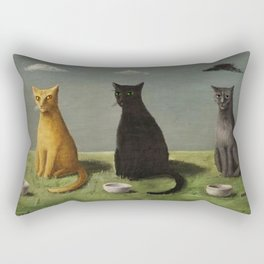 Three Cats with Clouds That Follow Them Everywhere by Gertrude Abercrombie Rectangular Pillow