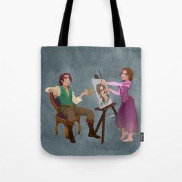 Tangled - Rapunzel Short Brown Hair and Flynn Rider Tote Bag