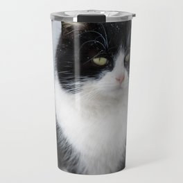 Black and white cat siting outdoor Travel Mug