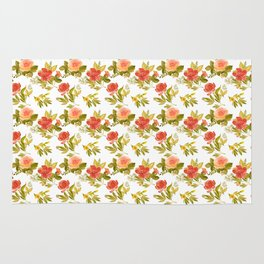 Roses and Peonies Floral Pattern Rug