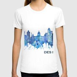 Des Moines Iowa Skyline Blue T-shirt