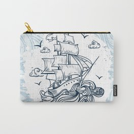 Hand drawn boat with waves background Carry-All Pouch