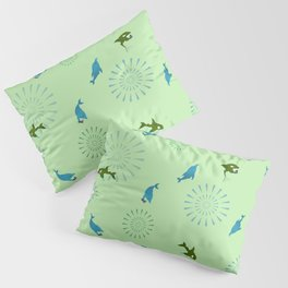 Green Orca and Dolphin Pillow Sham