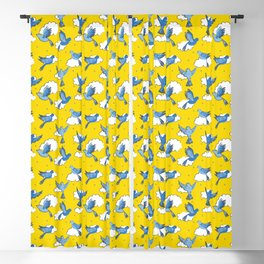 Blue Birds on a Sunny Sky Blackout Curtain