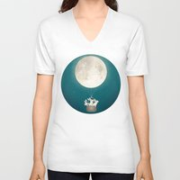 bunnies V-neck T-shirts featuring moon bunnies by Laura Graves