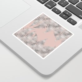 Silver fern leaves on rosegold background - abstract pattern Sticker