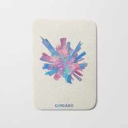 Chicago, Illinois Colorful Skyround / Skyline Watercolor Painting Bath Mat