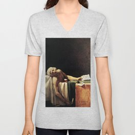 Death of Marat by - Jacques-Louis David Unisex V-Neck