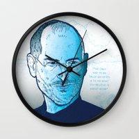 steve jobs Wall Clocks featuring Steve Jobs by BTillustration