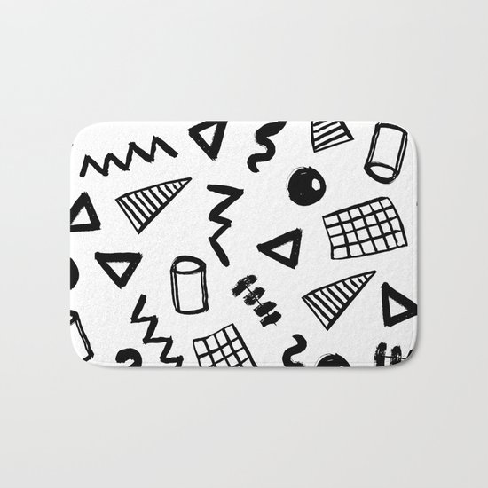 Black and white shapes minimal linocut pattern graphic scandi design Bath Mat