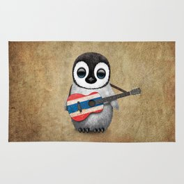 Baby Penguin Playing Thai Flag Guitar Rug
