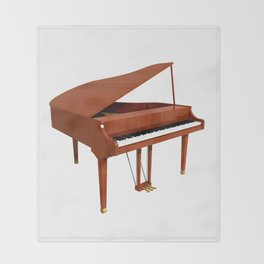 Grand Piano with Wood Finish Throw Blanket
