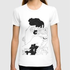 Floral Love White MEDIUM Womens Fitted Tee
