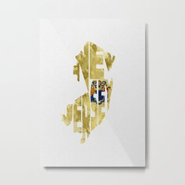 New Jersey Typographic Flag Map Art Metal Print