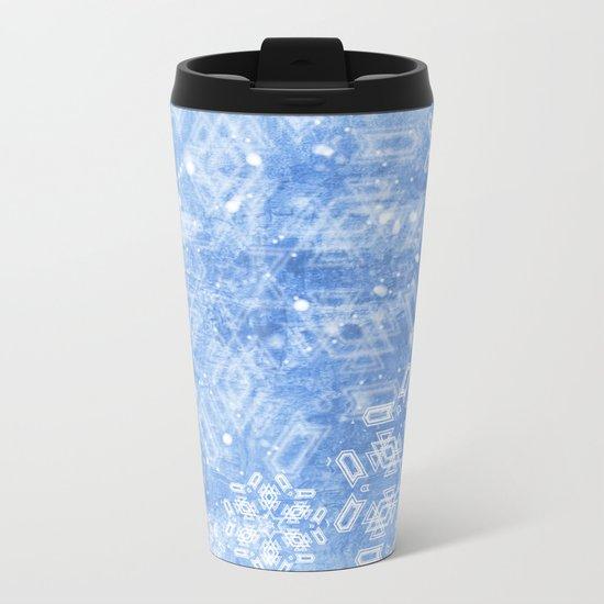 Abstract snow flakes on blue texture Metal Travel Mug