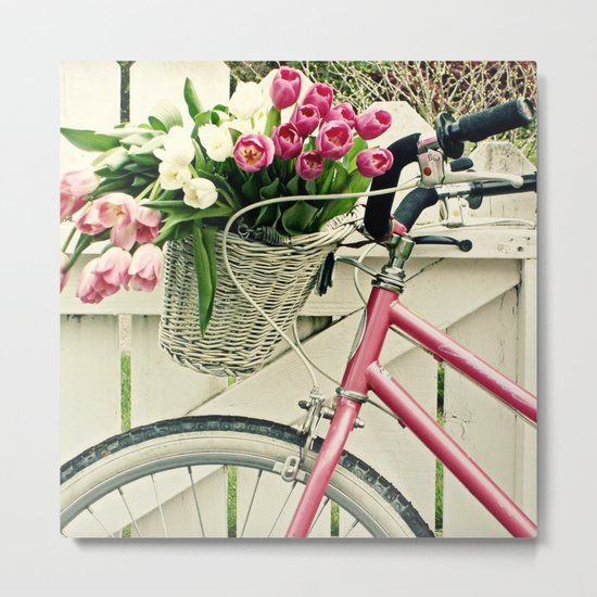 Pink Bike Metal Print